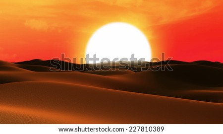 Abstract illustration of Desert Sand Dunes at Sunset - stock photo
