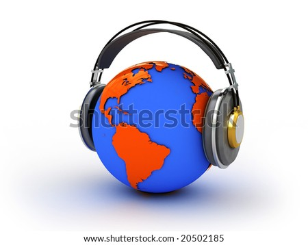 Abstract illustration of earth listening music