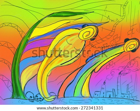 abstract illustration of environmental protection - stock photo