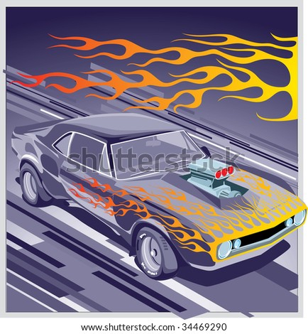 abstract illustration of grey car - stock photo