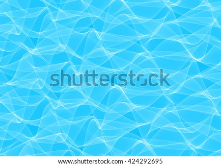 Abstract Illustration of light wavy lines on blue background. Curving light blue abstract backdrop - stock photo