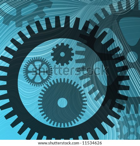 Abstract illustration of lines and cogs on blue