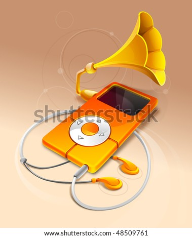 Abstract Illustration Of MP3 Player - stock photo