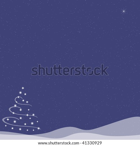 Abstract illustration of of a Christmas tree made from stars and swirls on top of snow hills.  A single star shines in the sky as snow falls on a blue indigo background.  Copy space.