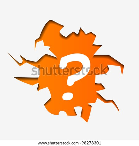 Abstract Illustration of Question Mark in hole - vector version in portfolio - stock photo