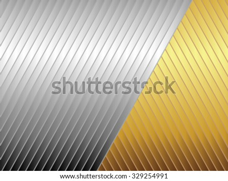 Abstract illustration of silver and gold diagonal stripes for backgrounds and fills - stock photo