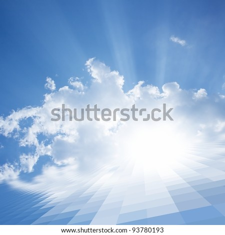 Abstract illustration of solar panel. Bright sun, white clouds, blue sky. - stock photo