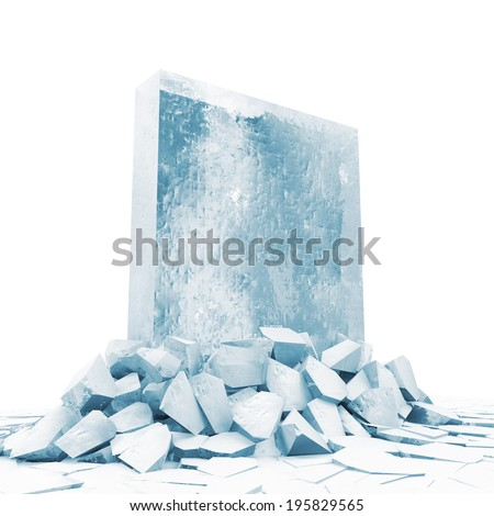 Abstract Illustration of Solid Ice Block Breaking Through From Ice Floor - stock photo