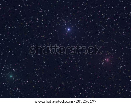 Abstract illustration of starry sky background - multicolored lights of stars - CGI - stock photo