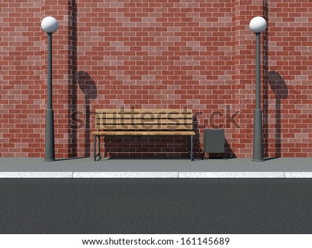 Abstract illustration of Street with Bench and Street Lamps near the Brick Wall
