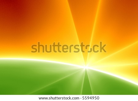 Abstract illustration of sunrise in green Horizon - stock photo