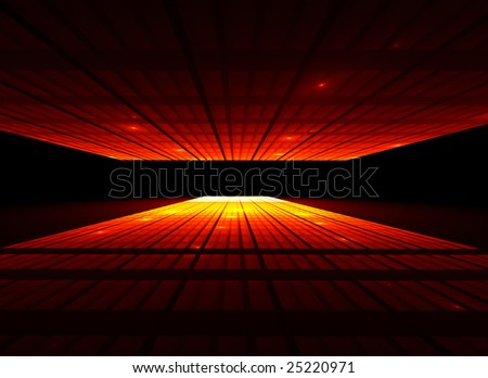 Abstract illustration of sunset in the city, low angle view - stock photo