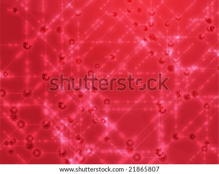 Abstract illustration of technical data nodes and flows - stock photo