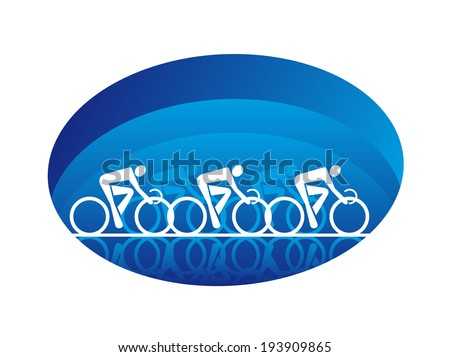 Abstract illustration of the white silhouettes of three racing cyclists on an oval blue shape, isolated on white background. Vector version also available in gallery - stock photo