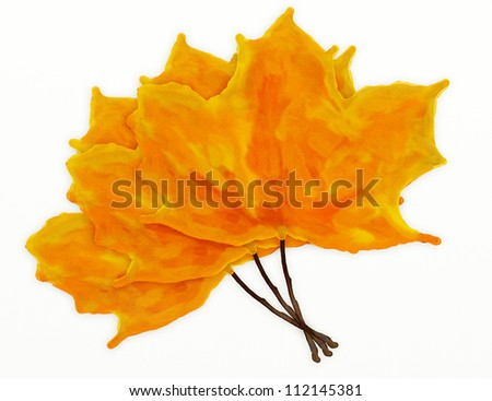 Abstract illustration of three watercolor leaves on white background. - stock photo