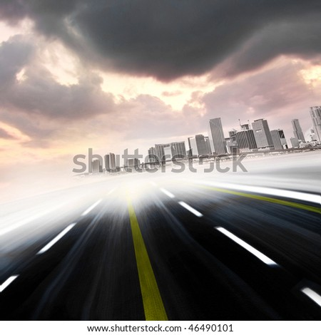 Abstract Illustration of urban highway going toward the skyscrapers buildings in a colorful modern city at sunset or sunrise. Montage with a photo of  Miami Florida from my personal photo collection - stock photo