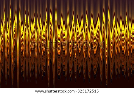 Abstract illustration of waveforms, mostly yellow and red, for decoration or background with scientific, musical, or auditory motifs