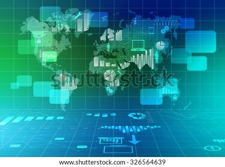 Abstract illustration of world map with icons and graphs.