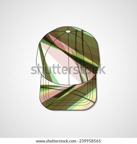 Abstract illustration on peaked cap, template editable. - stock photo