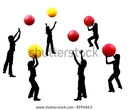 Abstract illustration. Silhouettes of girls - artists of circus. During the rehearsal of next number with balls. - stock photo