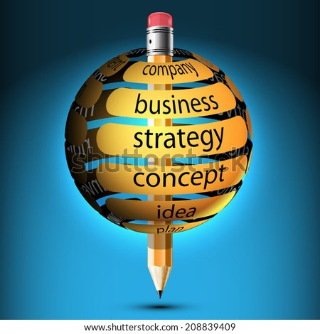 Abstract illustration with design elements of infographics business. Pencil and ball with banner, company, idea, concept, strategy.  Icon. - stock photo