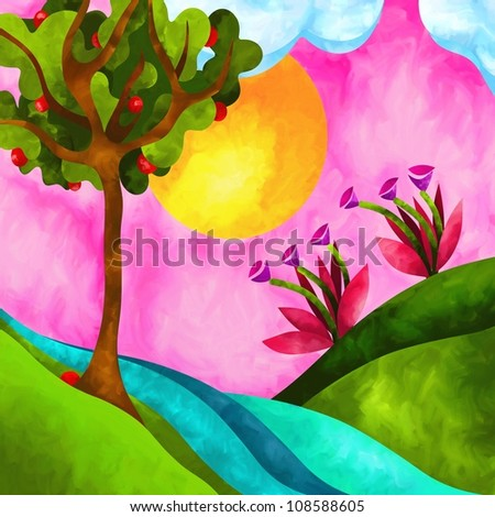 abstract illustration with fantasy landscape - stock photo