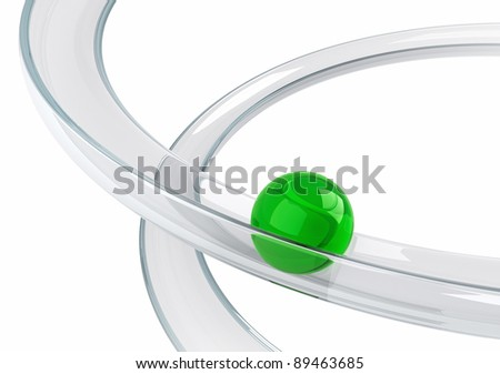 Abstract illustration with green ball rolling down on the helix tray made of transparent glass isolated on white background. Metaphor of downshifting. - stock photo