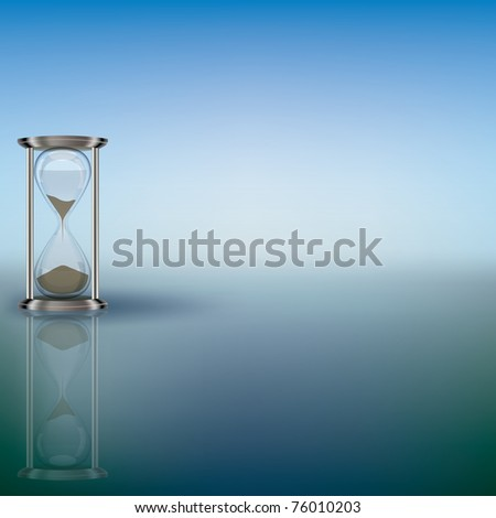 abstract illustration with hourglass on blue background - stock photo