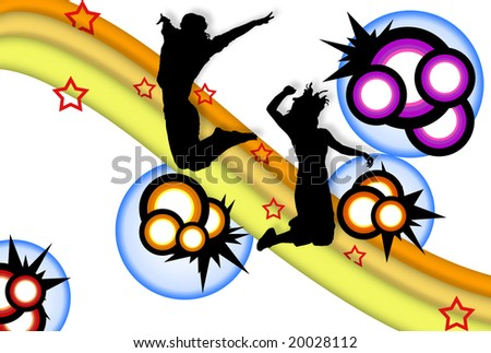 Abstract illustration with jumping silhouettes with circles and lots of colors - stock photo