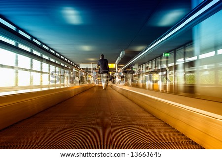 abstract image a moving escalator (BLURRY !) - stock photo