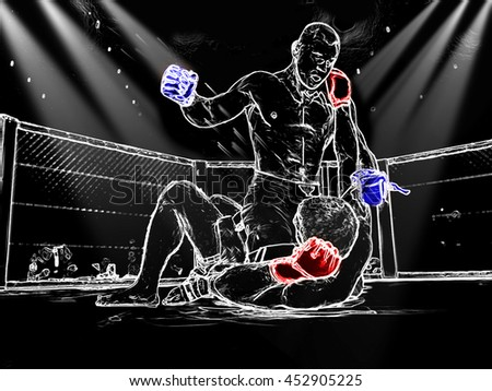 abstract image. Athletes in the ring extreme Sport mixed martial arts competition tournament series   MMA. The dramatic moment of battle punches - stock photo