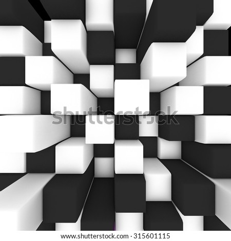 abstract image: black and white cubes