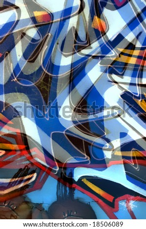 Abstract image made with mixed parts of different abandoned grafitti. - stock photo