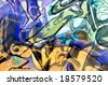 Abstract image made with mixed parts of different abandoned grafittis. - stock photo