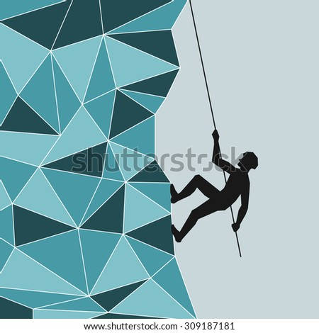 abstract image of a climber in helmet, which climbs up the mountain, glacier, iceberg on top with a rope, wire rope. Safety. Mountain blue with white stroke in the technique Triangle.