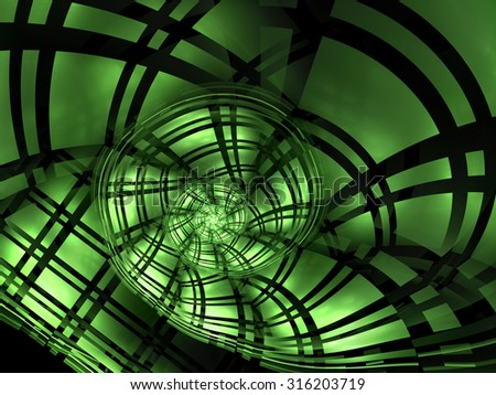 Abstract image of a green spiral cell coverage in technical style