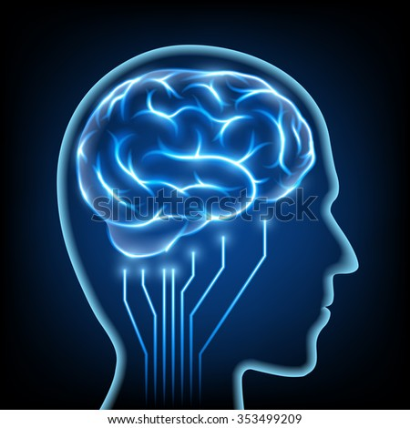 Abstract image of a human head with the brain. Stock image.