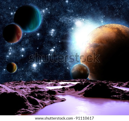 Abstract image of a planet with water. Find new sources and technologies. The future of travel to distant planets. - stock photo