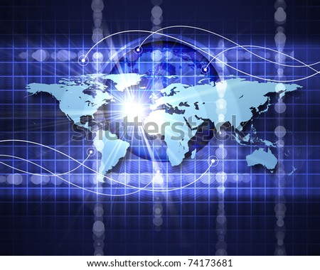 Abstract image of a social network. Map of the world