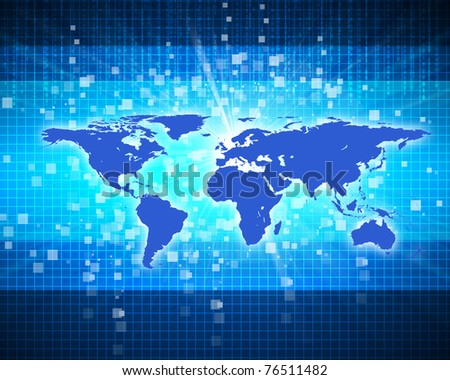 Abstract image of a social network. Map of the world - stock photo