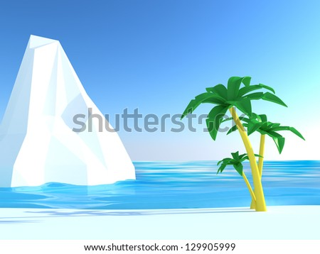Abstract image of a tropical beach with white cliff - stock photo