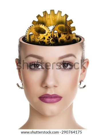 Abstract image of a woman with wooden gear brain.  - stock photo