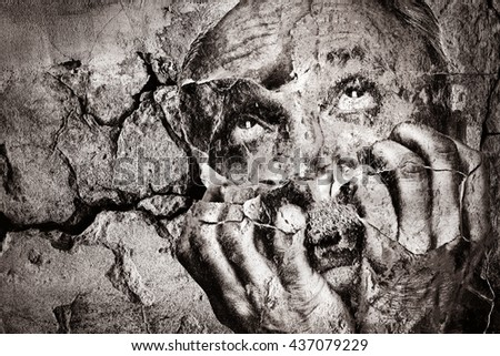 Abstract image of an emotionally unbalanced elderly man with his hands near the face