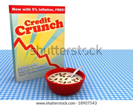 Abstract image of bowl of cereal called Credit Crunch - stock photo