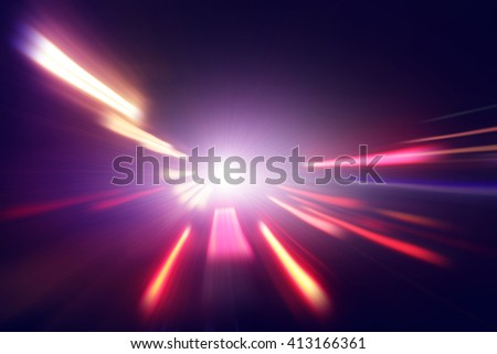 Abstract image of colorful night lights with motion blur. - stock photo
