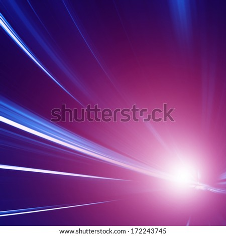 Abstract image of driving  in the tunnel at night. Motion blur. - stock photo