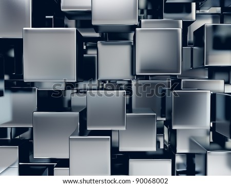 abstract image of metal cubes background - stock photo