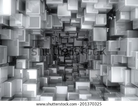 Abstract image of metallic cubes background - stock photo
