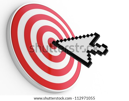 Abstract image of mouse pointer on bulls-eye. Symbol of right choice. - stock photo