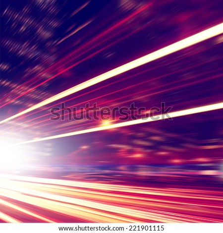 Abstract image of night lights in motion blur in the city. - stock photo